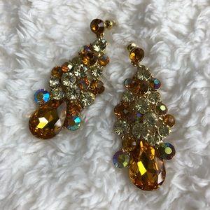 Jewelry - Goldtone Yellow & Orange Rhinestone Earrings